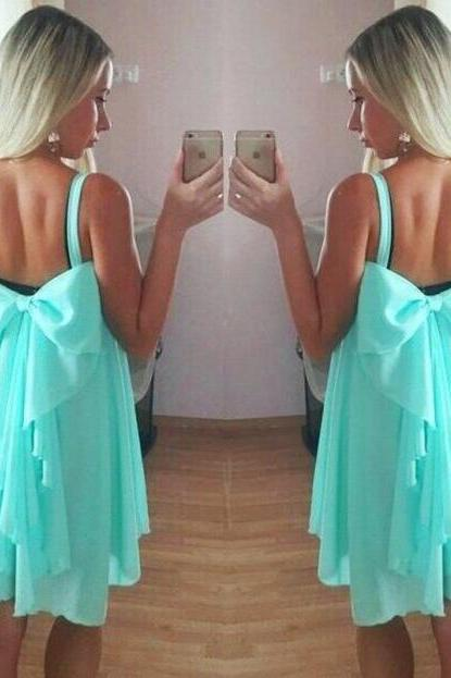 Mint Green Shoulder Straps Short A-Line Dress Featuring Bow Accent Back