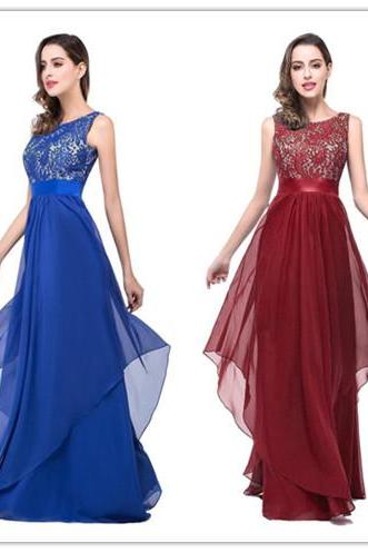 Charming Lace Chiffon Prom Dress,Sexy Sleeveless Evening Dress ,Sexy Backless Prom Dress