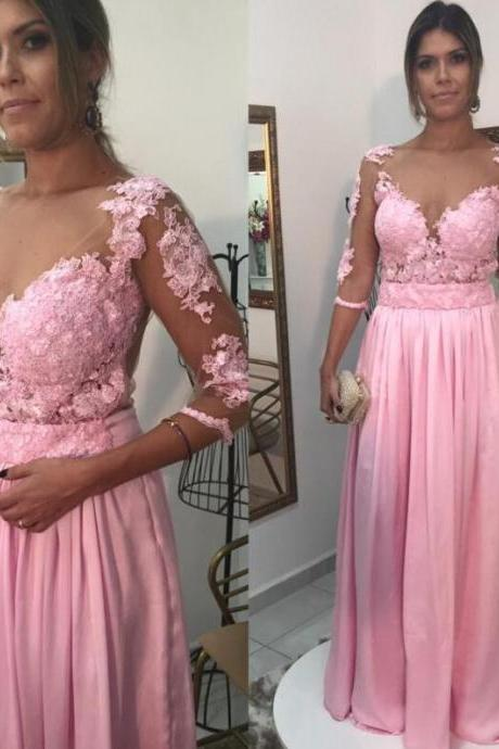 Prom Dress, 2016 Prom Dress, Pink Prom Dress, 3/4 Sleeved Prom Dress, Long Prom Dress with Lace, Appliques Prom Dress, Hot Sale Prom Dress, Custom Made Prom Dress