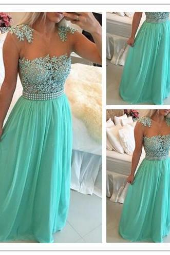 Prom Dress, New Arrival Prom Dress, Green Prom Dress, Lace Prom Dress, Chiffon Prom Dress with Beadings, Sheer Neck Prom Dress, Capped Sleeve Prom Dress, Long Prom Gown, Hot Sale Prom Dress, Custom Made Prom Dress