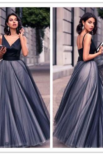 Prom Dress, Simple Prom Dress, V-Neck Prom Dress, Floor Length Prom Dress, A-Line Prom Dress, Tulle Prom Dress, Bowknot Prom Dress, Formal Occasion Dress, High Quality Prom Dress
