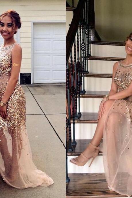 Prom Dress, Sheath Prom Dress, Crystal Prom Dress, Tulle Prom Dress, Long Prom Dress, Latest Prom Dress, Champagne Prom Dress, Side Slit Prom Gown, Hot Sale Prom Dress, High Quality Prom Dress, Custom Made Prom Dress