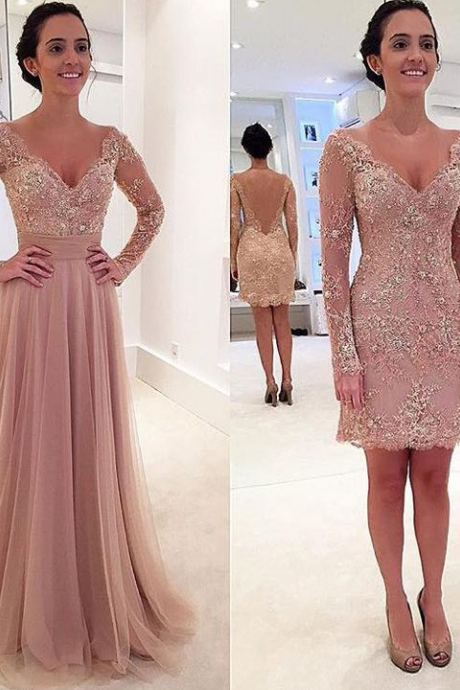 Prom Dress, New Arrival Prom Dress, Long Sleeve Prom Dress, Crystal Prom Dress, Detachable Train Prom Dress, Latest Prom Dress, Lace Evening Gown, Hot Sale Prom Dress, High Quality Prom Dress, Custom Made Prom Dress