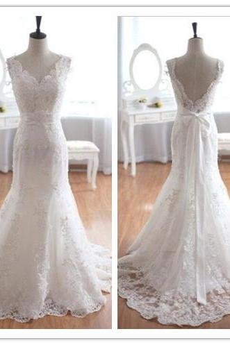 Wedding Dress, Wedding Dresses, New Arrival Wedding Dress, V-Neck Wedding Dress, Mermaid Wedding Dress, Lace Bridal Gown, Bowknot Wedding Dress, Open Back Wedding Dress, Sweep Train Wedding Dress, Hot Sale Wedding Dress, High Quality Wedding Dress,Custom Made Wedding Dress