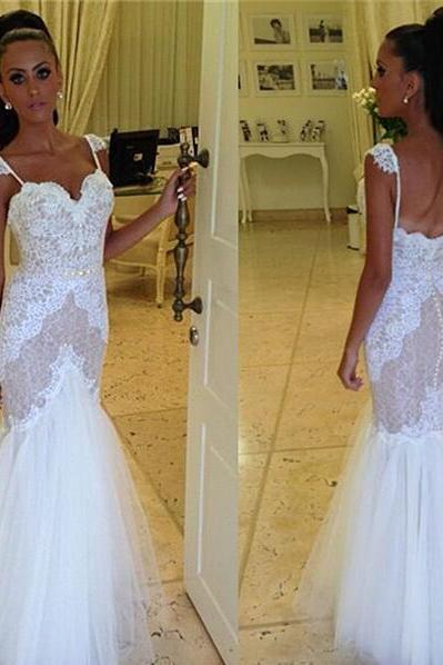 Lace Appliques Sweetheart Shoulder Straps Floor Length Tulle Mermaid Wedding Dress Featuring Low Back