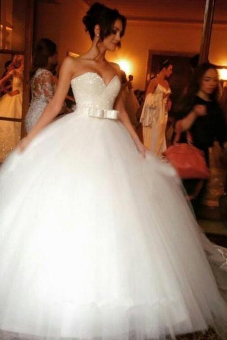 Sequinned Sweetheart Floor Length Tulle Wedding Gown Featuring Bow Accent Belt