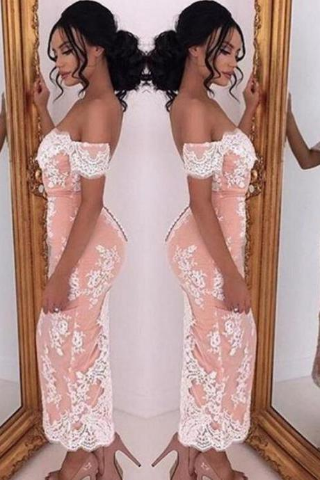 Prom Dress, Short Sleeve Prom Dress, Mermaid Evening Dress, Ankle Length Evening Gown, Off the Shoulder, Lace Party Dress, Hot Sale Evening Dress