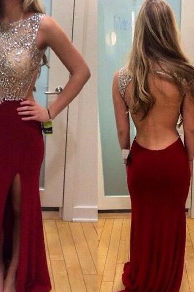 Prom Dress, Sexy Prom Dress, Bateau Evening Dress, Backless Evening Dress, Burgundy Evening Dress With Beading, Hot Sale Evening Dress, Custom Dress