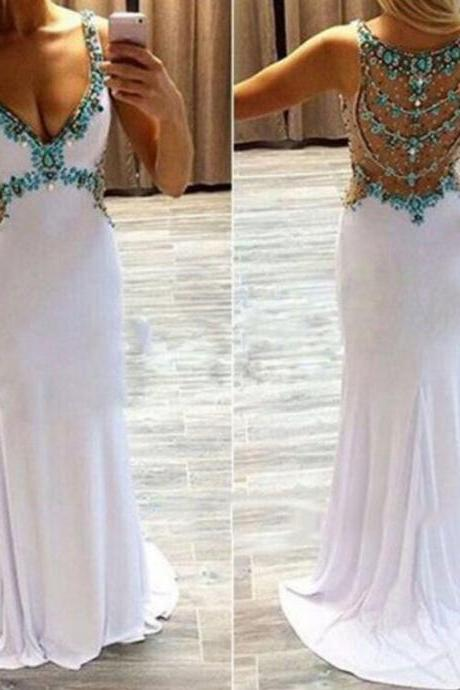Prom Dress, White Prom Dress, 2016 Prom Dress, Turquoise Crystals Prom Dress, Open Back Prom Gowns, Hot Sale Prom Dress, Elegant Prom Dress, Custom Made Prom Dress