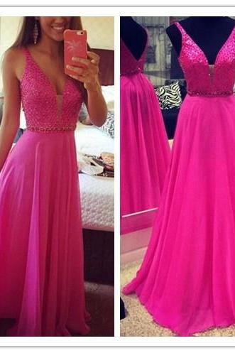 Prom Dress, New Arrival Prom Dress, Fushia Prom Dress, Crystal Prom Dress, Sweep Train Prom Dress, A-Line Prom Dress, Sleeveless Prom Gowns, Custom Dress, Hot Sale Prom Dress