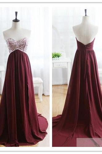 Prom Dress, Maroon Prom Dress, 2016 Evening Dress, Sweetheart Evening Dress, Beads Evening Dress, Wine Red Evening Gown with Long Train