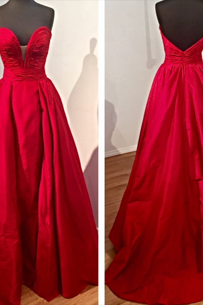 Prom Dress, Elegant Prom Dress, Red Evening Dress, Sweetheart Evening Gown, Open Back Evening Dress, Satin Evening Dress, Sweep Train Evening Dress