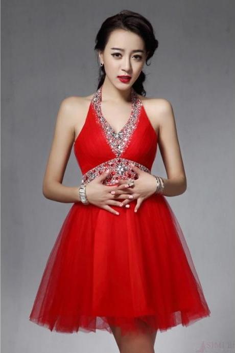 Red Tulle Homecoming Dresses, Halter Homecoming Dresses, Rhinestone Homecoming Dresses, Stunning Homecoming Dresses, Dresses For Prom,Short Prom Dresses, Cheap Homecoming Dresses, Juniors Homecoming Dresses