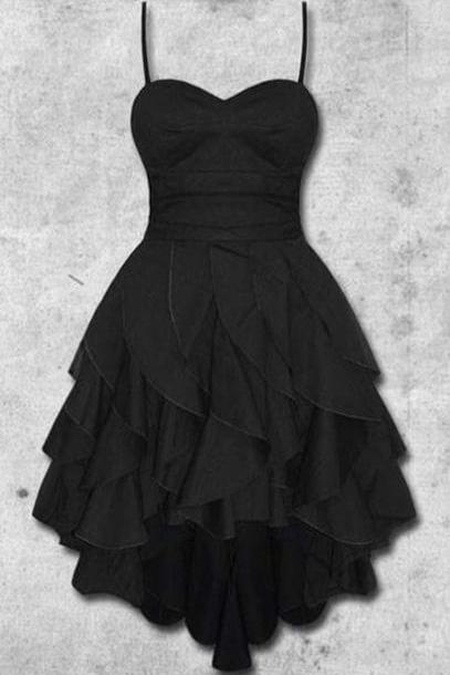2019 Custom Charming Black Chiffon Prom Dress,Sleeveless Spaghetti Straps Evening Dress,Sexy Backless Prom Dress