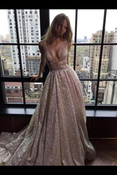 Custom Charming Sequins Long Prom Dress,Sexy Spaghetti Straps Evening Dress,Sexy V-Neck Backless Prom Dress