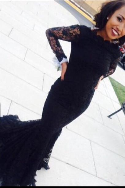 2016 Custom Charming Black Lace Prom Dress,Sexy Long Sleeves Evening Dress,Sexy Mermaid Long Prom Dress With Train