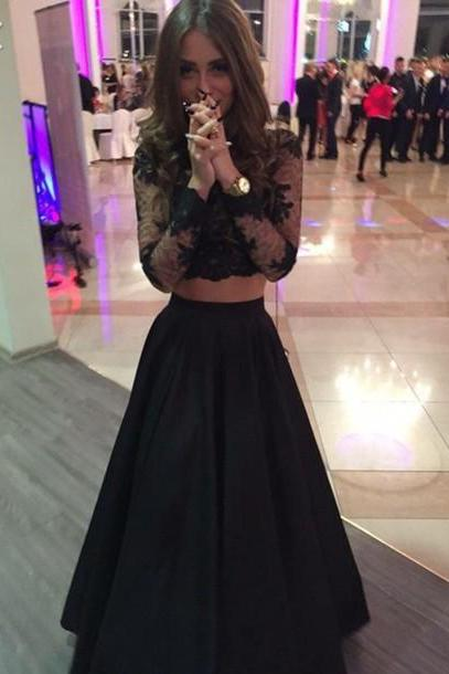 2016 Custom Charming Black Lace Prom Dress,Sexy Long Sleeves Two Pieces Evening Dress,Sexy See Through Prom Dress