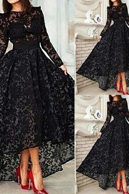 Hot sale Lace Evening Dresses Prom Dresses Formal Dress High -low Prom Gown