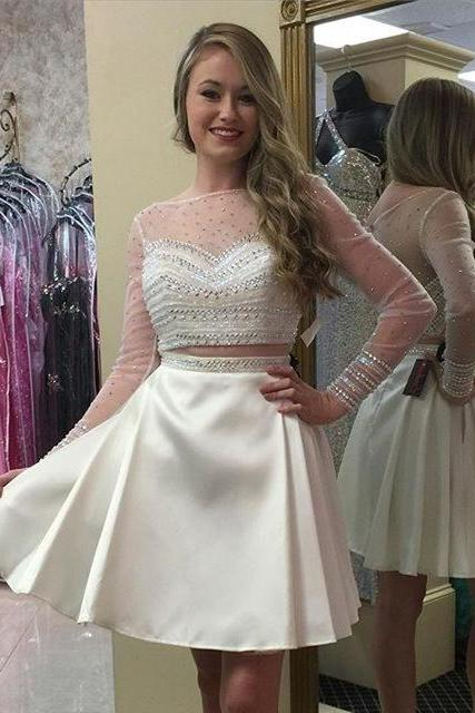 Prom Dresses 2016 Long Sleeve Two Pieces Mini 8th Grade Graduation Dresses Delicate Beading Sheer Homecoming Dresses