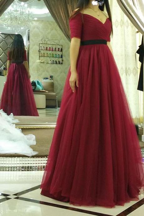 Black Sash Half Sleeves Burgundy Prom Dresses,Long Tulle Prom Dress