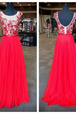 Long Prom Dress,Scoop Sexy Prom Dress,Chiffon Prom Dresses, Red Formal Dress,Evening Gown