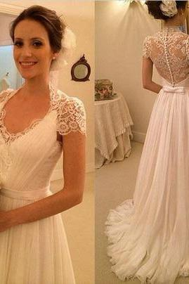 Charming White Chiffon Wedding Dress,Lace V-Neck Bridal Dress,See Through Backless Wedding Dress