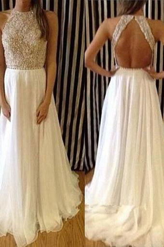 Charming Prom Dress,Ivory Chiffon Prom Dress,Long Prom Dress,Beading Evening Dress,Formal Dress