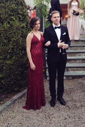 Charming Prom Dress,Burgundy Prom Dress,Sexy Backless Prom Dresses,Sweep Train Evening Formal Dress,Women Dress