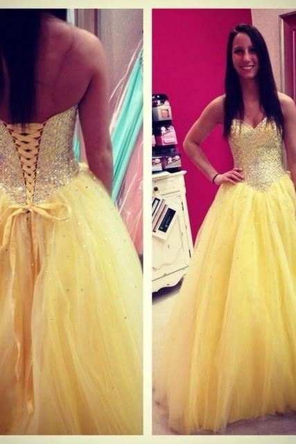 Ball Gown Yellow Tulle Prom Dresses,Sweetheart Backless Beads Formal Evening Party Gown