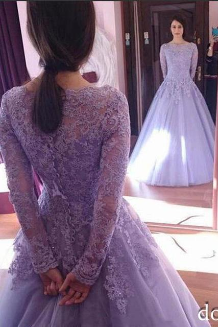 New Light Purple Quinceanera Dresses, Long Sleeve with lace Appliques Ball Gowns, Vintage Prom Gowns Puffy Sweet 16 Dresses