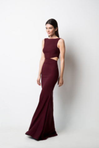 Burgundy Bateau Sleeveless Mermaid Long Prom, Evening Dress Featuring Cutout Detailing