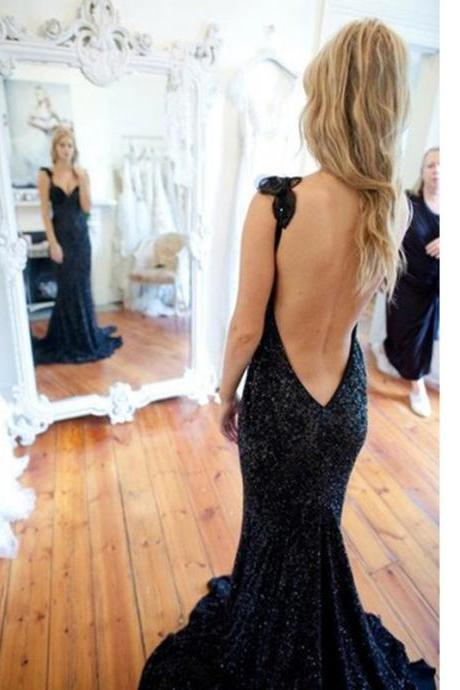Charming Prom Dress,Sequins Prom Dress,Long Prom Dress,Backless Prom Dress,Evening Formal Dress