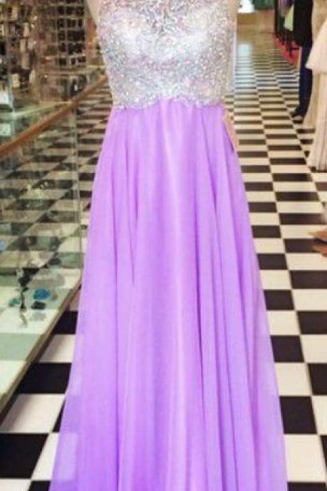 2016 Carming Custom made,Lilac Chiffon Prom Dresses, Shiny Beaded SleevelessProm Dress