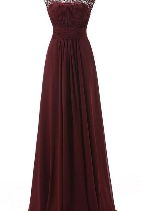 2016 Custom Made,Burgundy Prom Dresses,Sexy See Through Evening Dress,Chiffon Sleeveless Prom Dress