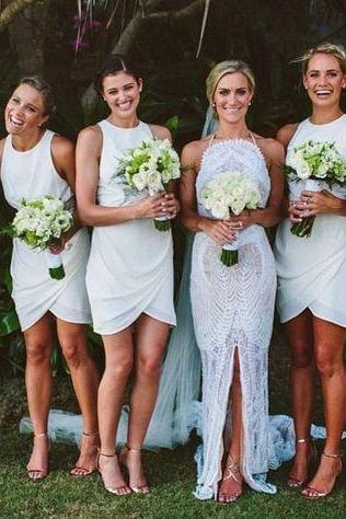 Short bridesmaid dresses, white bridesmaid dresses, discount bridesmaid dresses, cheap bridesmaid dress, o neck bridesmaid dresses