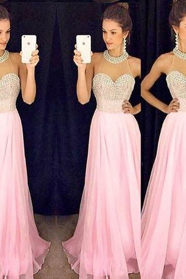 Charming Prom Dress,Sexy Evening Prom Dress,Pink Chiffon Beading Evening Dress