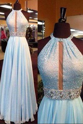 2016 Custom Charming Baby Blue Prom Dress,Sexy Halter Evening Dress,Beading Prom Dress