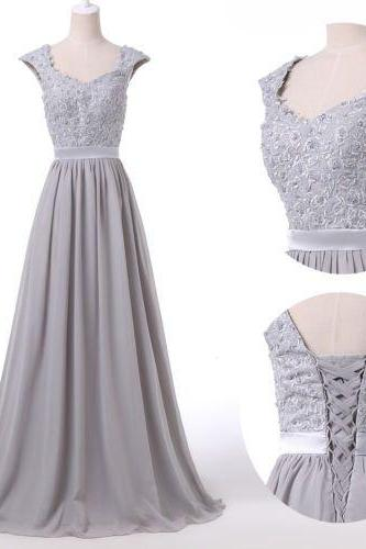 2016 Custom Charming Gray Chiffon Prom Dress,Lace Beading Evening Dress,Sleeveless Prom Dress