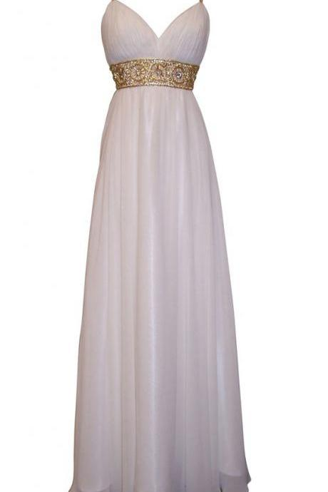 Greek Goddess Chiffon Prom Dress, Starburst Beaded Full Length Gown, Prom Dress Junior Plus Size