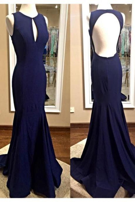 Fashion Scoop Navy Blue Backless Mermaid Evening Gown With Back Hole