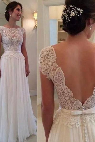 Lace Appliques Bateau Neck Cap Sleeves Floor Length Chiffon A-Line Wedding Dress Featuring Plunge V Back