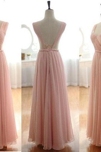 Prom Dress Pink Backless Sleeveless A