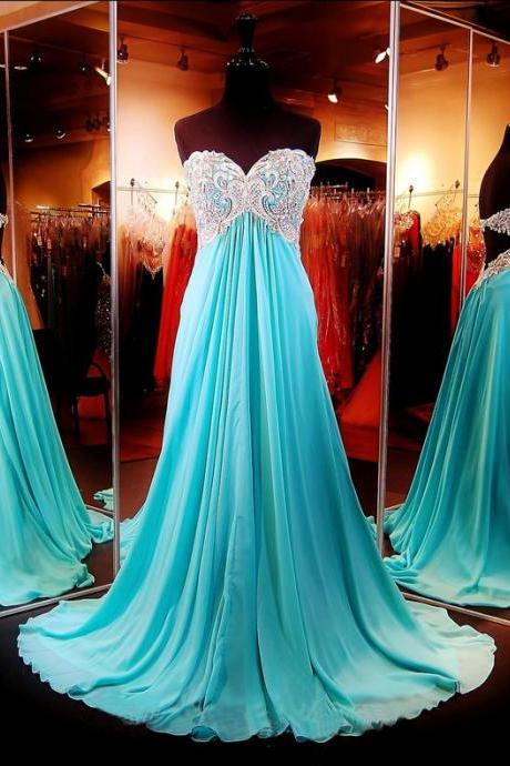 Gorgeous Prom Dress,Sweetheart Prom Dress,Open Back Prom Dress,Chiffon Prom Dress,Long Prom Dress,Floor Length Prom Dress,Crystal Beaded Prom Dress,Empire Waistline Prom Dress,Prom Dress Plus Size ,Crystal Beaded Prom Dress,Prom Gown