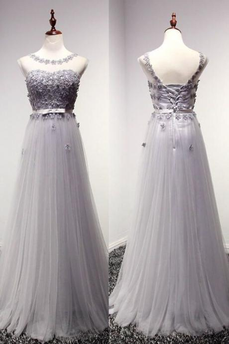 2016 Custom charming GrayLace Beading Prom Dress , Long Cap Sleeves Evening Dress, Tulle Hands made Flowers Prom Dress