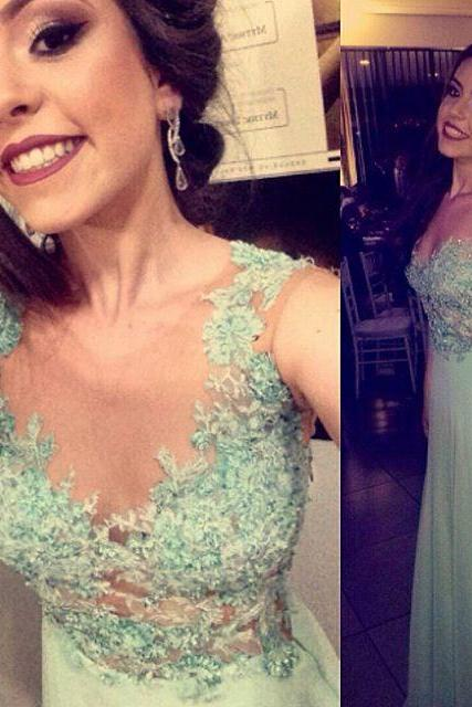 Fashion Scoop A-line Prom Dress, Appliques Long Mint Prom Dress, Party Gown