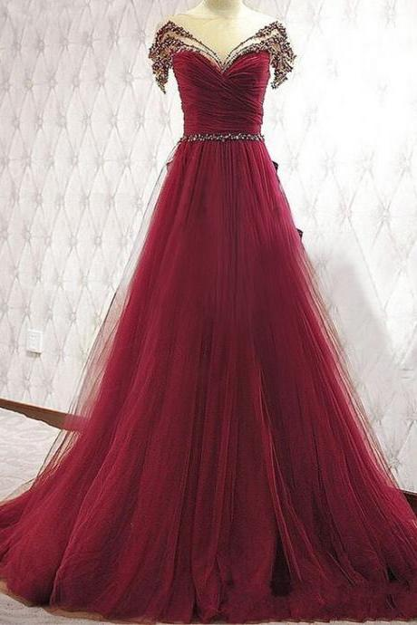 Burgundy A-Line Beading Prom Dress, Tulle Off the Shoulder Evening Dress