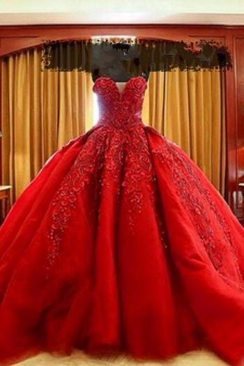2017 Custom Charming Red Wedding Dress,Sexy Sweetheart Bridal Dress,Beading Wedding Dress