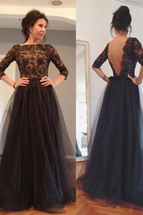 2017 Custom Black Lace Prom Dress,Half Sleeves Evening Dress,Floor-length Tulle Prom Dresses,Open Back Prom Dress