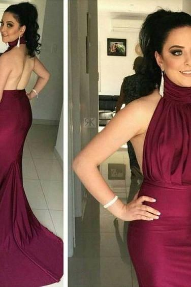 2017 Custom Sexy Burgundy Prom Dress,Mermaid Prom Dress,Halter Prom Dress,Sexy Backless Evening Dress