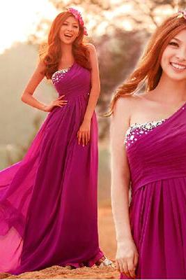 Rosy Pink One-Shoulder Floor Length Chiffon Prom Dress with Crystal Beading